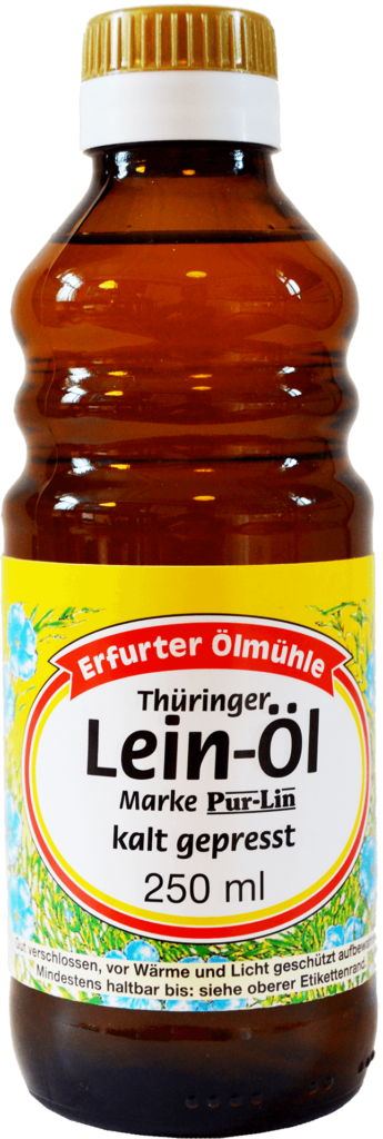 Flasche Lein-Öl von der Erfurter Ölmühle