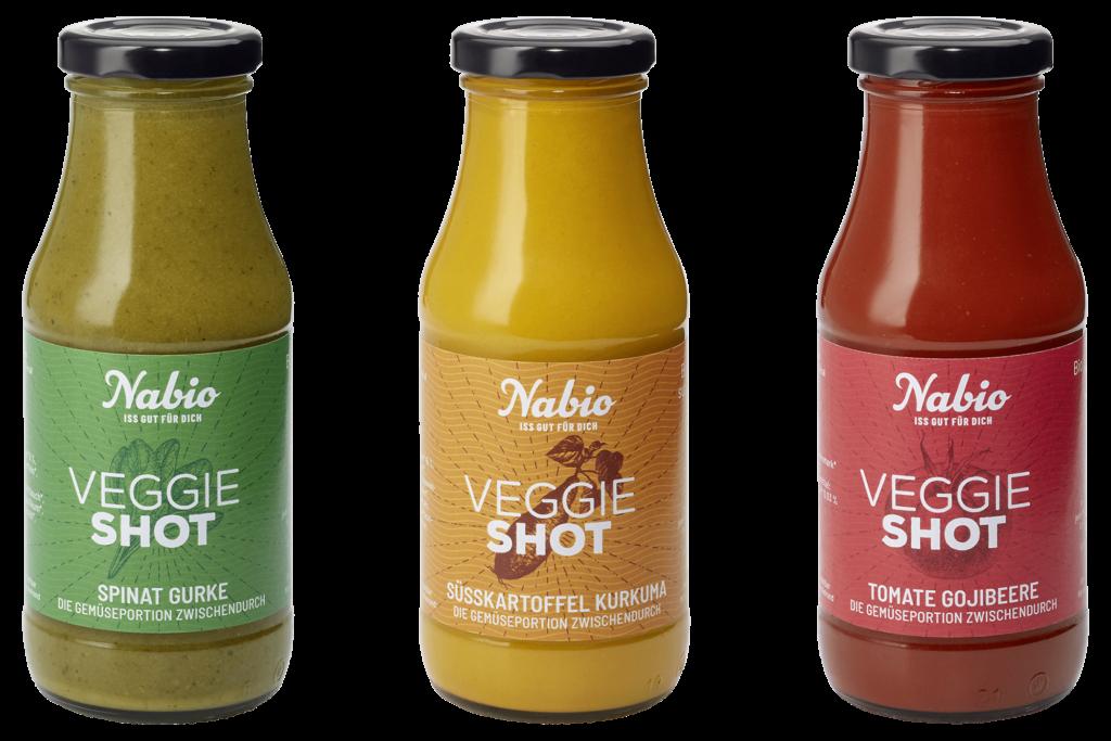 Veggie-Shots von Nabio in drei Geschmacksrichtungen