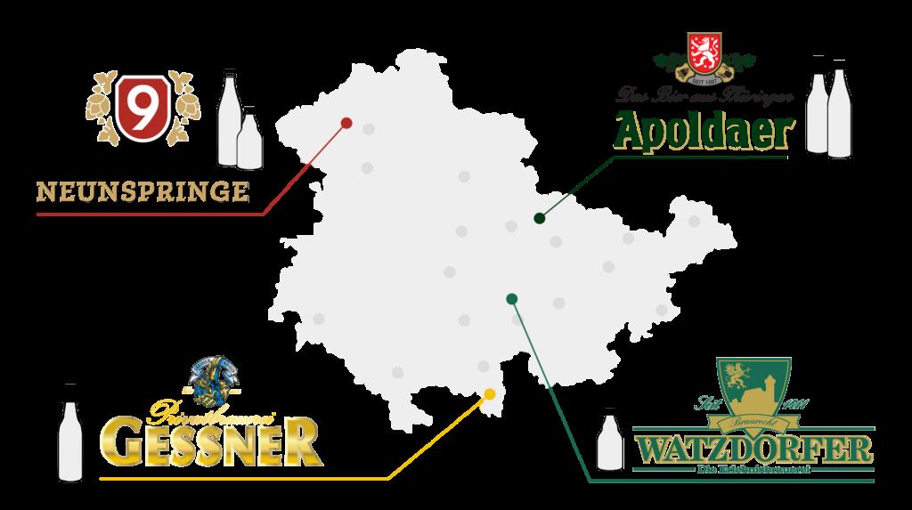 Grafik mit den Standorten und Flaschensorten von vier Thüringer Brauereien