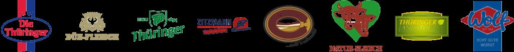 Logo von acht Thüringer Unternehmen, die Bratwürste produzieren