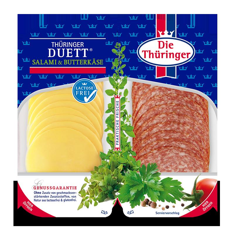 Eine Packung Thüringer Salami und Butterkäse
