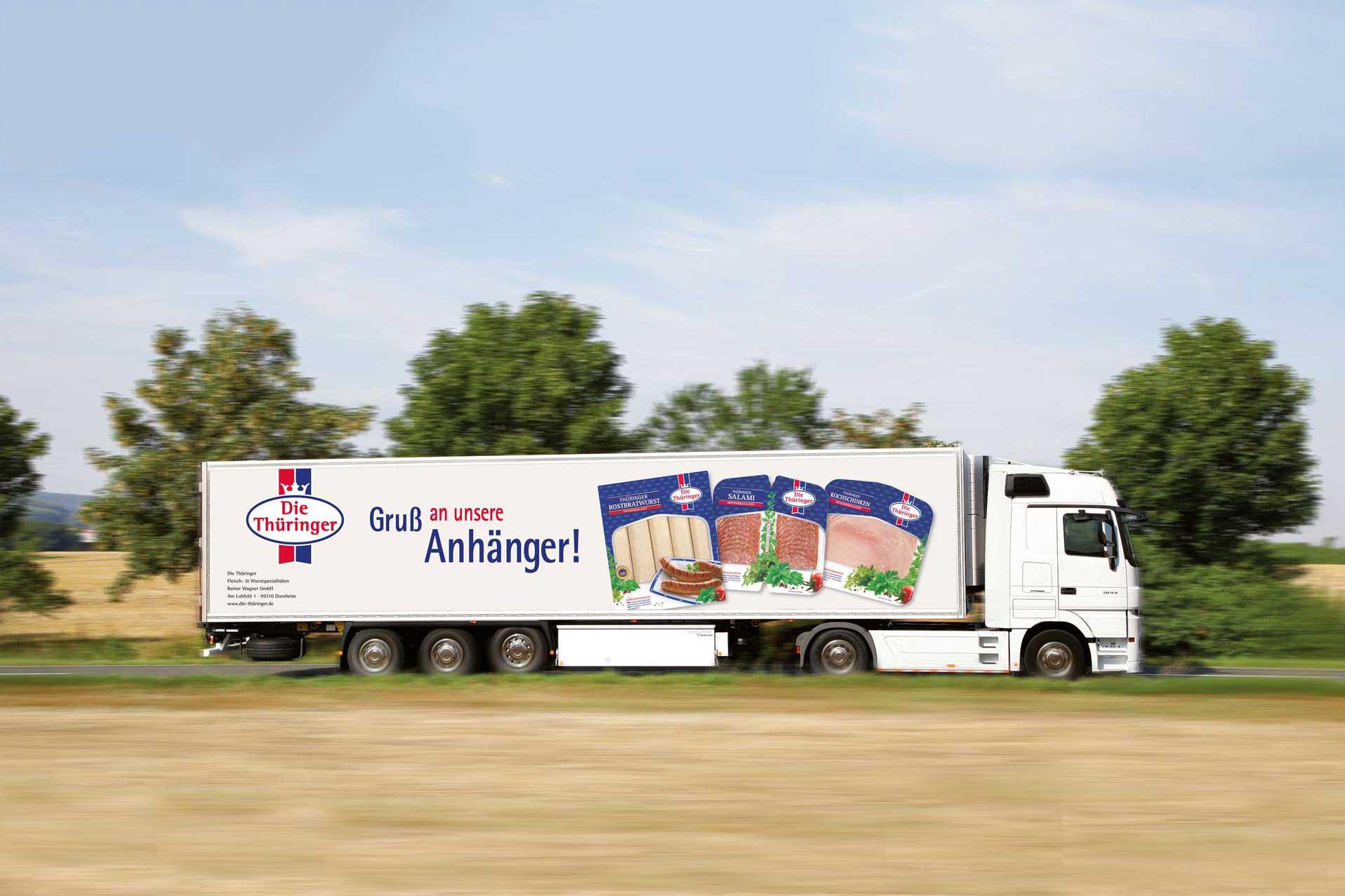 Werbung für Die Thüringer auf einem LKW